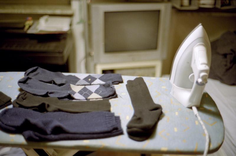 Socken bügeln Bügeleisen.