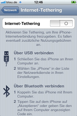 internet Tethering iphone aktivieren