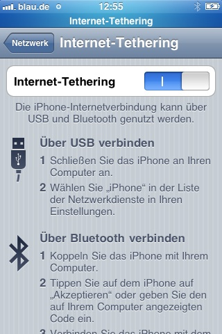 internet Tethering iphone aktiviert 1