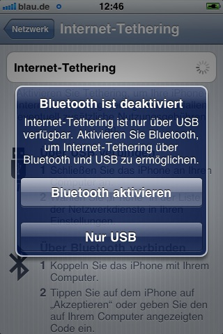 internet Tethering iphone optionen